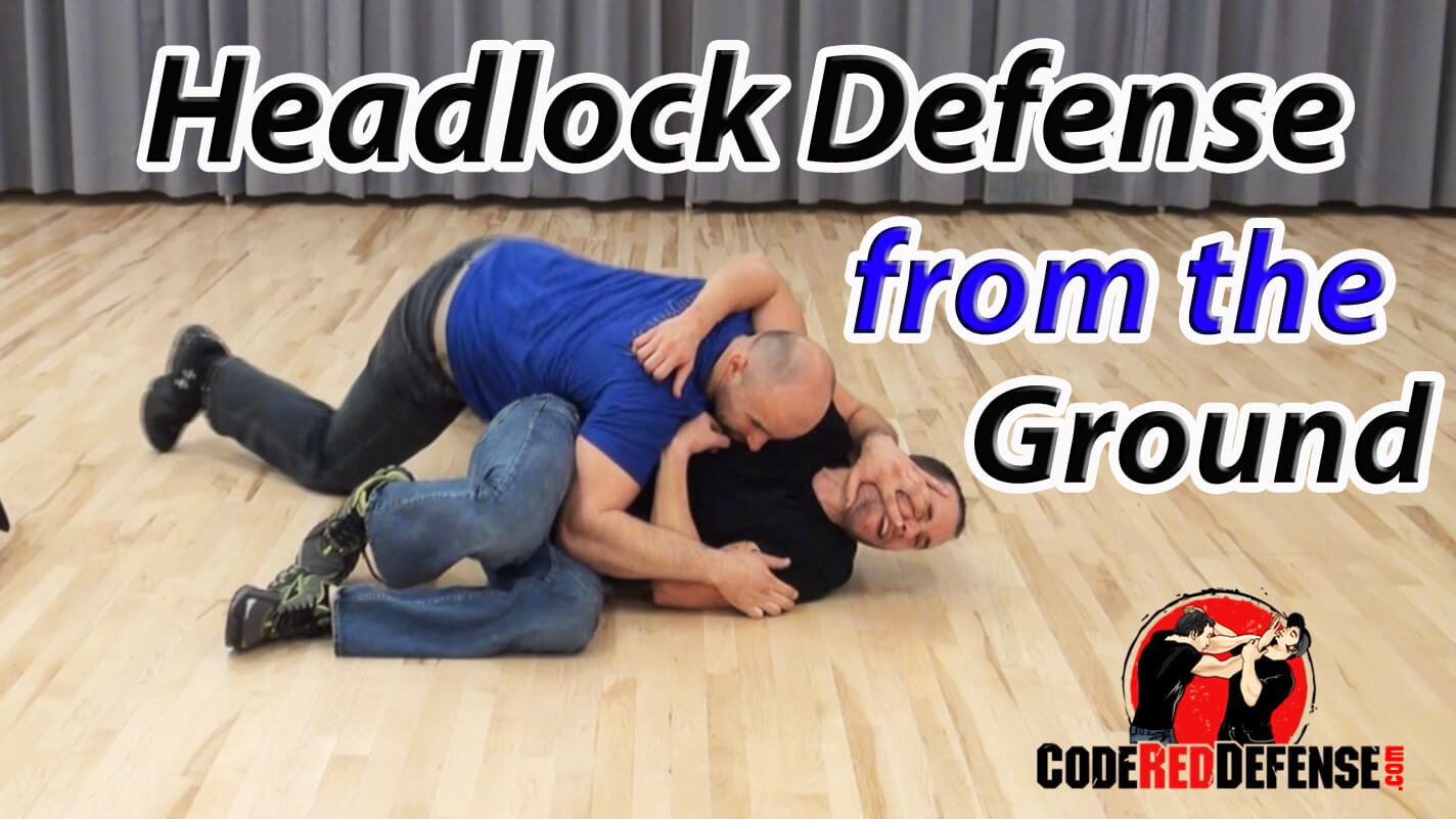 Self defense against a headlock on the ground